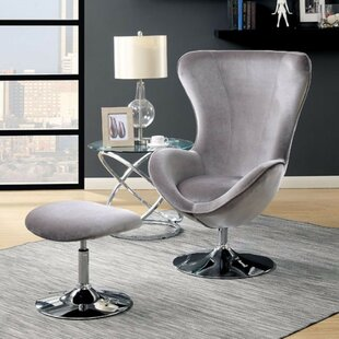 Brayden Studio Mateo Flannelette Wingback Chair and Ottoman