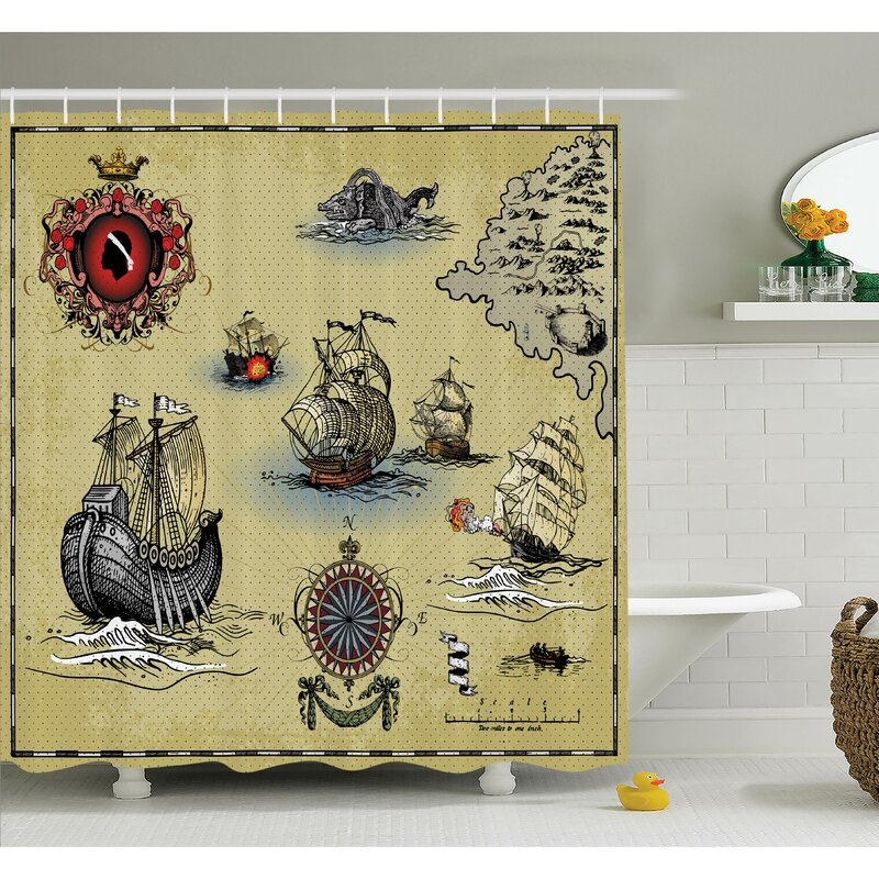 surprising Pirate Shower Curtain Part - 3: Antique Map Pirate Shower Curtain Set