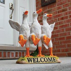Delightful Dancing Ducks Welcome Garden Statue