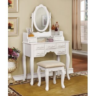 Flaugher Vanity Set with Mirror by Everly Quinn