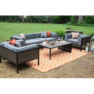 Manhattan 4 Piece Sunbrella Sofa Seating Group with Sunbrella Cushions