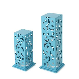 Winston Porter Outdoor 2 Piece Iron Lantern Set