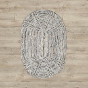 Brynne Hand-Woven Natural/Blue Area Rug by Beachcrest Home