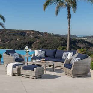 Wade Logan Castelli 8 Piece Rattan Sunbrella Sofa Seating Group with Cushions