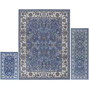 Reviews Gallaher 3 Piece Blue Area Rug Set By Charlton Home