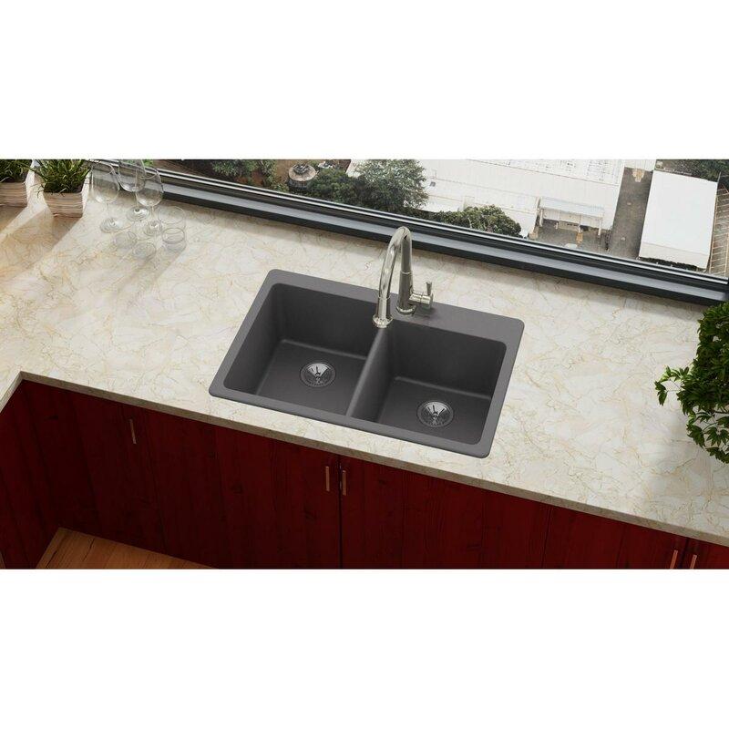 Elkay quartz luxe 33 x 22 double basin top mount kitchen sink quartz luxe 33 x 22 double basin top mount kitchen sink workwithnaturefo