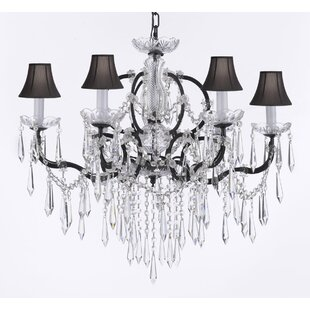 Rosdorf Park Clemence 6-Light Black 40W Shaded Chandelier