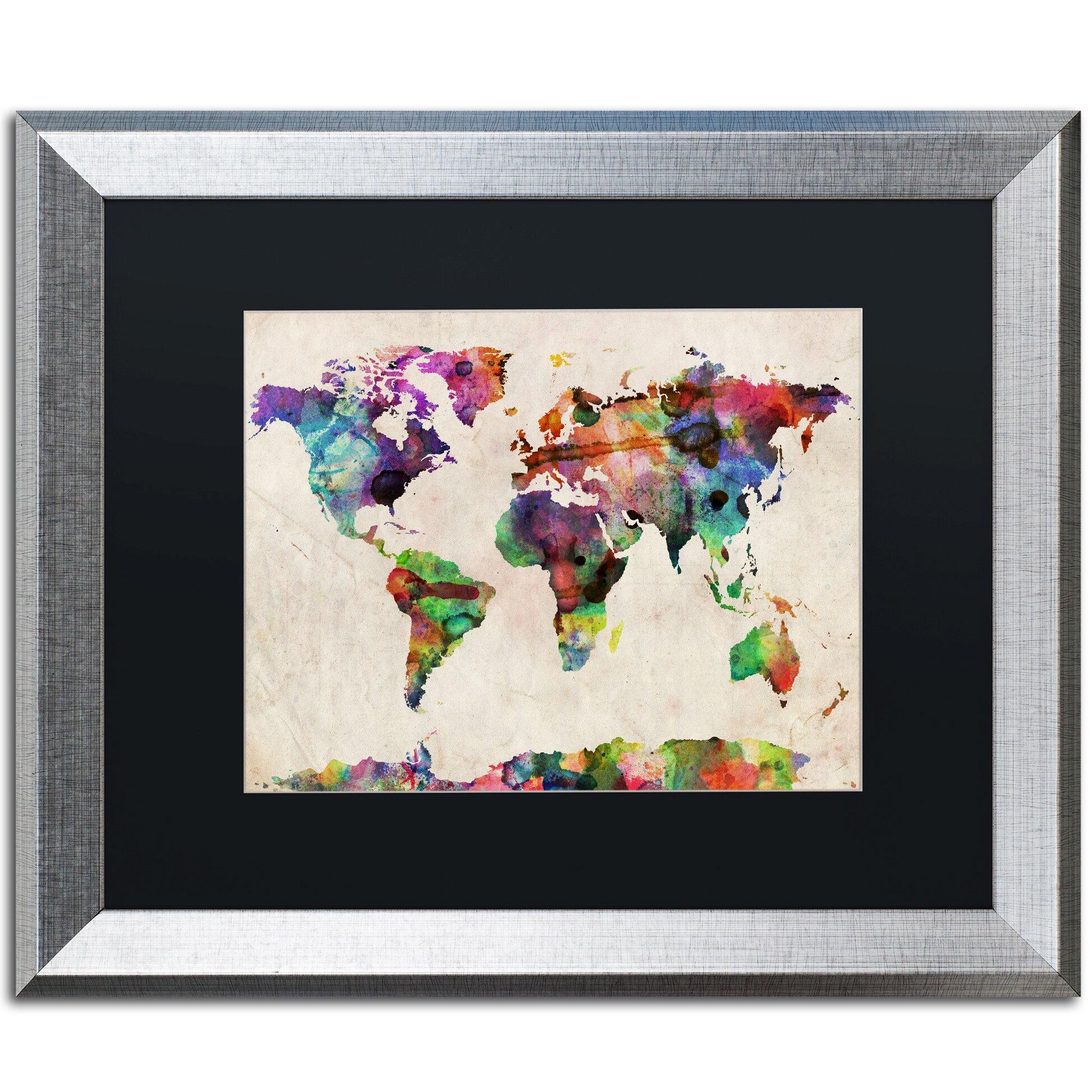 Urban Watercolor World Map.Trademark Art Urban Watercolor World Map By Michael Tompsett Framed