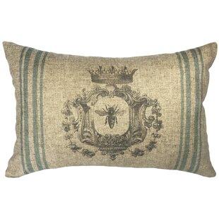 Omie Bee Striped Linen Lumbar Pillow