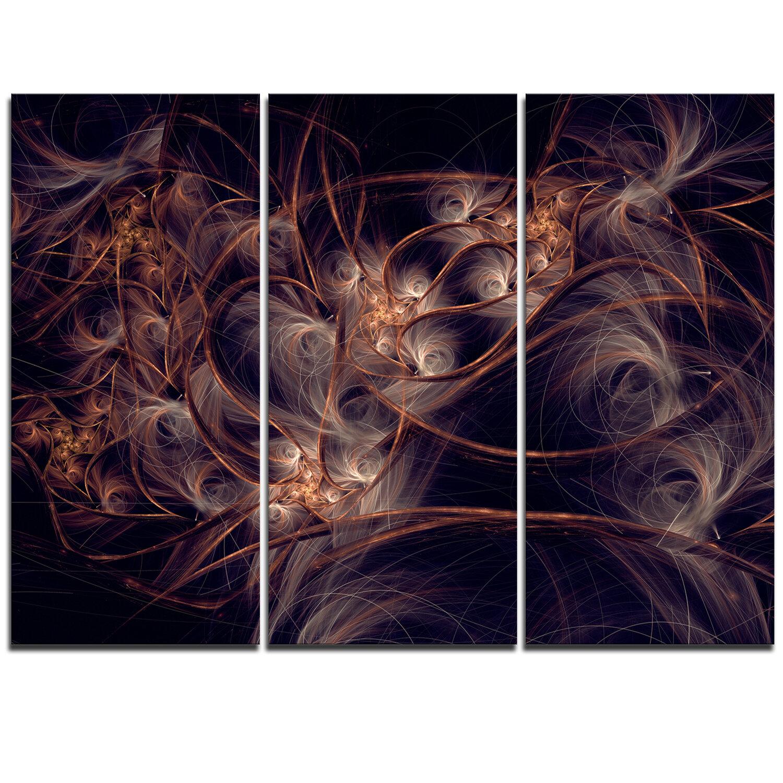 Designart Dark Golden Digital Art Fractal Flower 3 Piece Graphic Art On Wrapped Canvas Set Wayfair