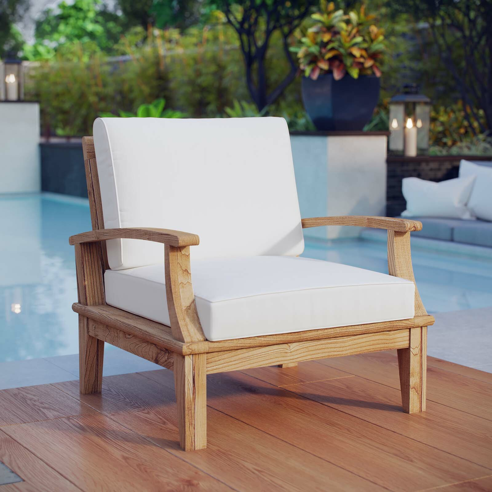 beachcrest home elaina teak patio chair with cushion reviews wayfair rh wayfair com Luxury Teak Outdoor Furniture highest quality teak outdoor furniture