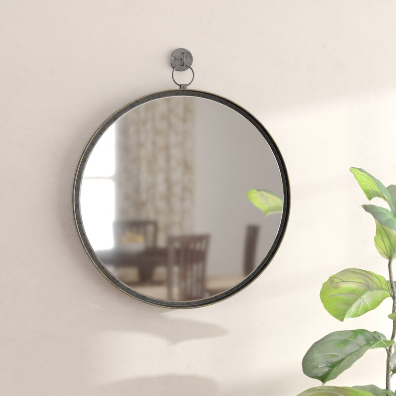 Gracie Oaks Della Suspended Round Wall Mirror Reviews Wayfair