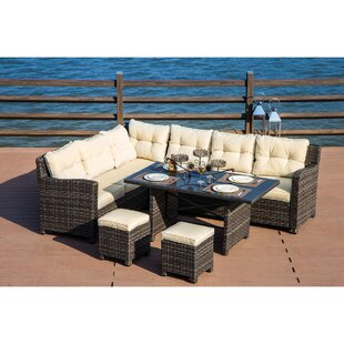 Vanhoy 5 Piece Rattan Sectional Sectional Seating Group with Cushions