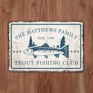74c0cf826505 Personalized Distressed Vintage-Look Trout Fishing Club Graphic Art Print  on Metal
