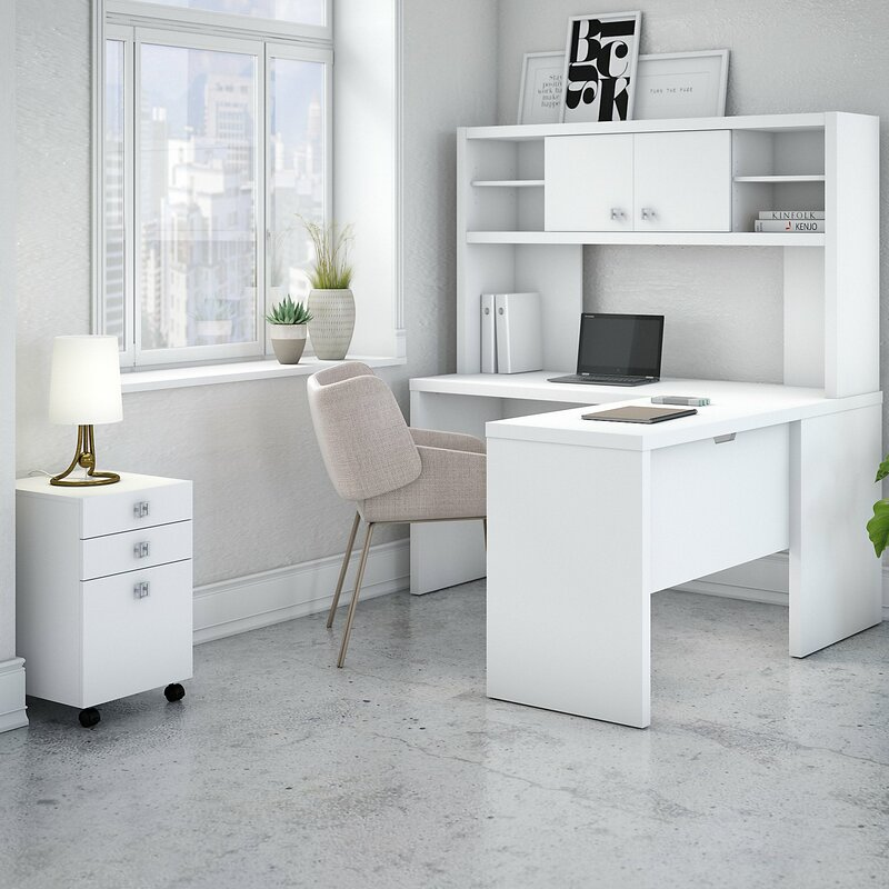 Echo 4 Piece L Shape Desk Office Suite With Hutch And Mobile File Cabinet