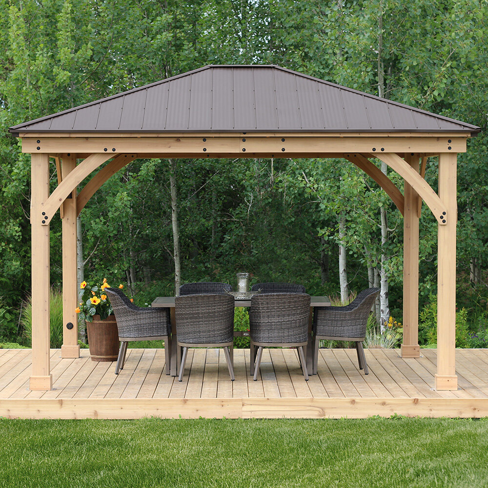 X 14 Ft D Solid Wood Patio Gazebo