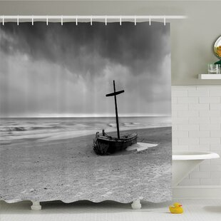 Ocean Wreck Small Stranded Boat on Seaside Snow Clouds Windy Day Wave Picture Shower Curtain Set