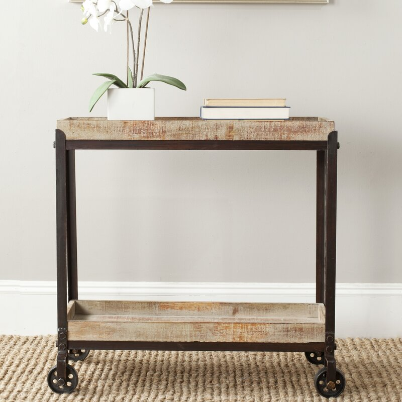 safavieh sally rolling console table & reviews | wayfair