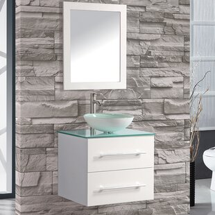 Prado 24 Single Sink Wall Mounted Bathroom Vanity Set with Mirror by Orren Ellis