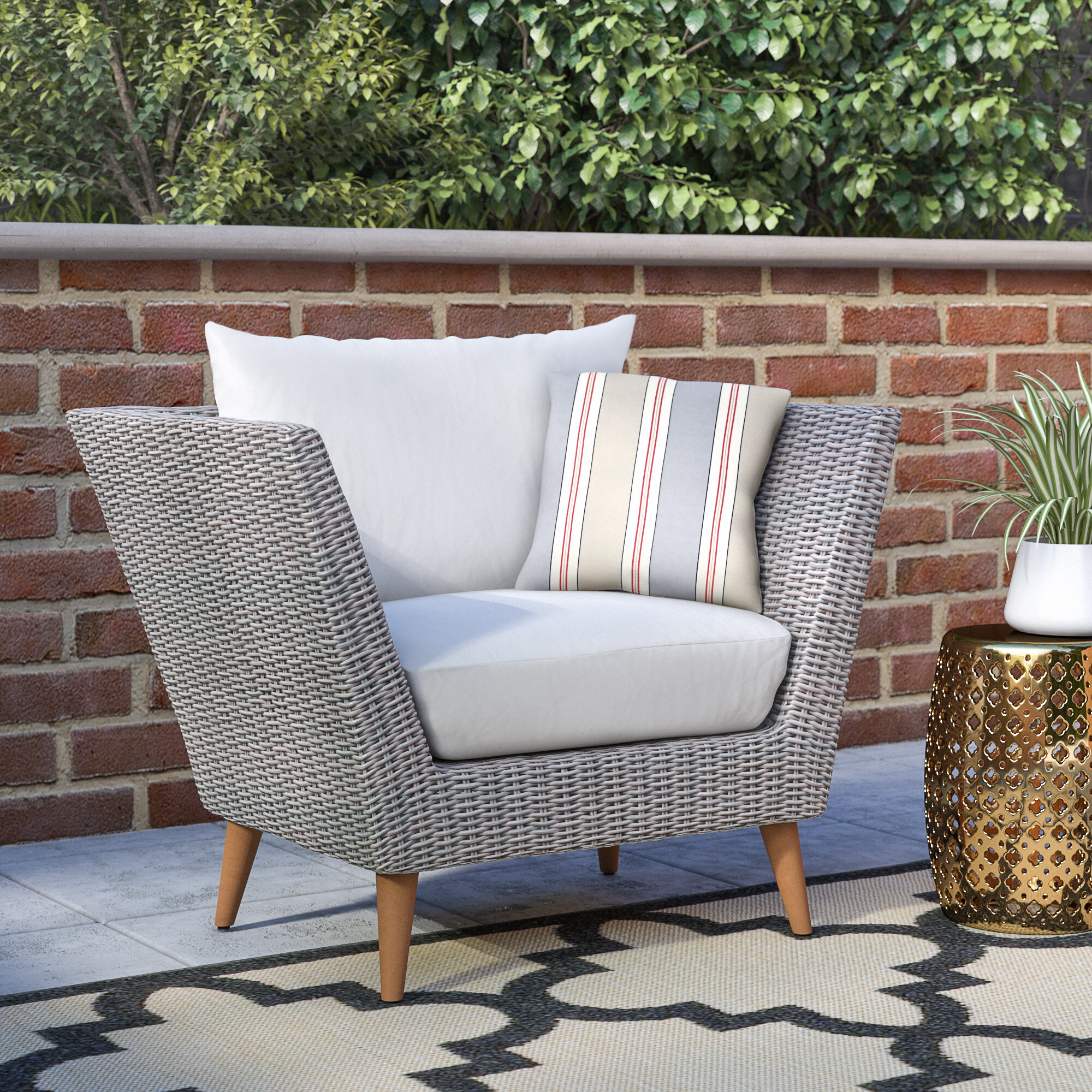 Langley Street Newbury Eucalyptus Patio Arm Chair with Cushions