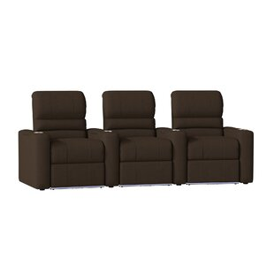 Blue LED Home Theater Curved Row Seating (Row of 3) by Latitude Run