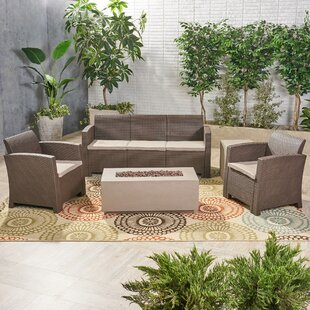 Ivy Bronx Jacksonville Outdoor 5 Piece Rattan Sofa Seating Group with Cushions