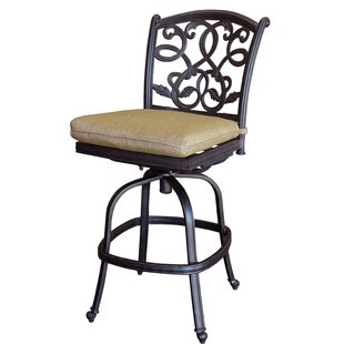 Windley Patio Armless Swivel Bar Stool with Cushion (Set of 4) (Set of 4)