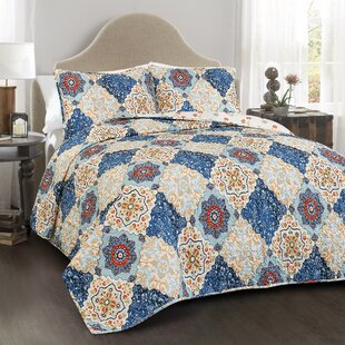 Belote 100% Cotton 3 Piece Reversible Quilt Set