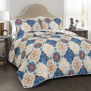 Belote 100% Cotton 3 Piece Reversible Quilt Set