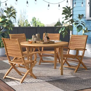 Beachcrest Home Elsmere 5 Piece Teak Dining Set