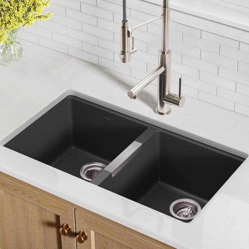 "Kitchen Sink 19 X 33: KGU-434B Kraus 33"" L X 19"" W Double Basin Undermount"