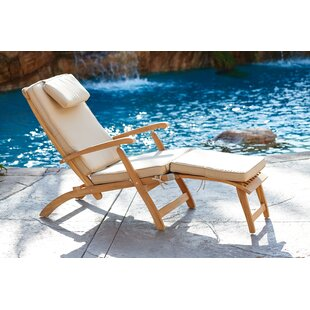 Cripe Reclining Teak Chaise Lounge with Cushion by Rosecliff Heights