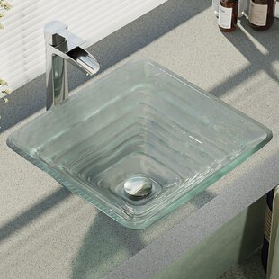 René By Elkay Textured Glass Square Vessel Bathroom Sink with Faucet