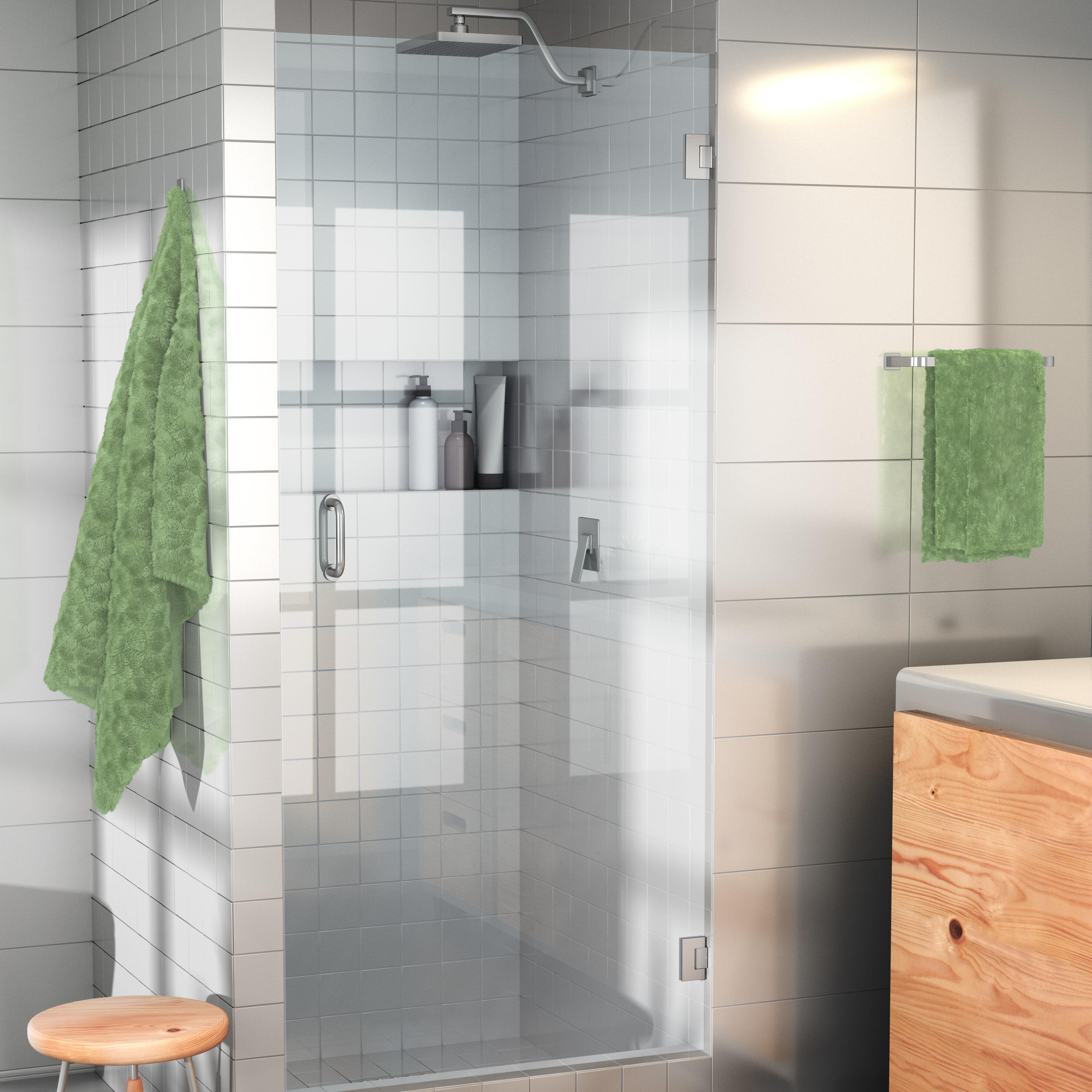 Glass Warehouse 28 X 78 Hinged Frameless Shower Door Reviews Wayfair