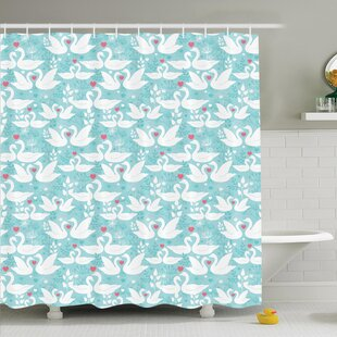Flower Swans in Love Dandelion Shower Curtain Set