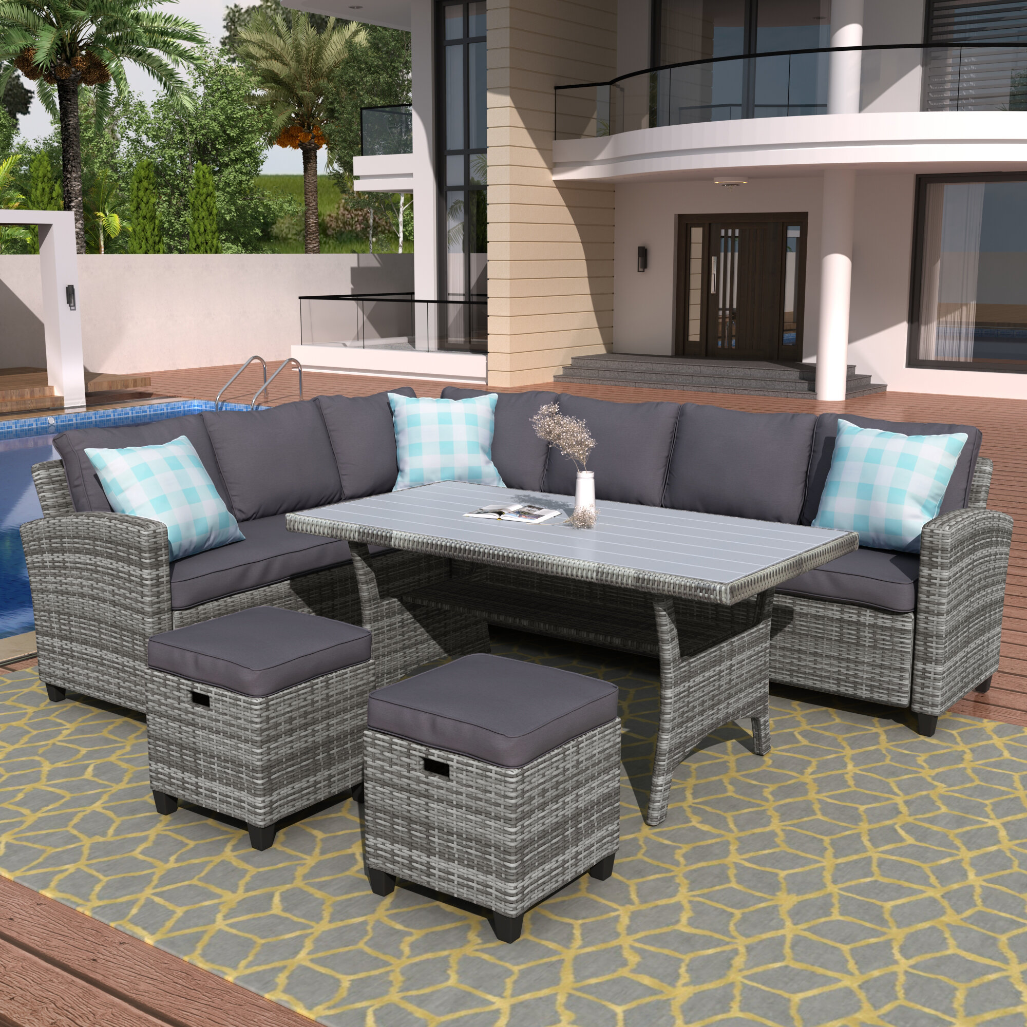 Red Barrel Studio Kaytlyn Outdoor 5 Piece Rattan Sectional Seating Group With Cushions Wayfair