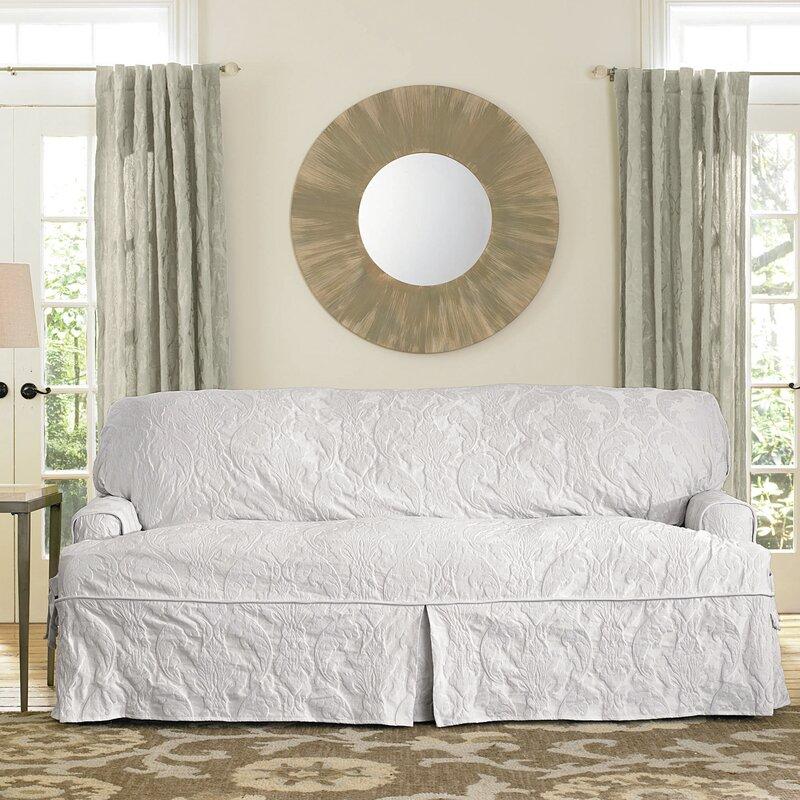 Captivating Matelasse Damask Box Cushion Sofa Slipcover