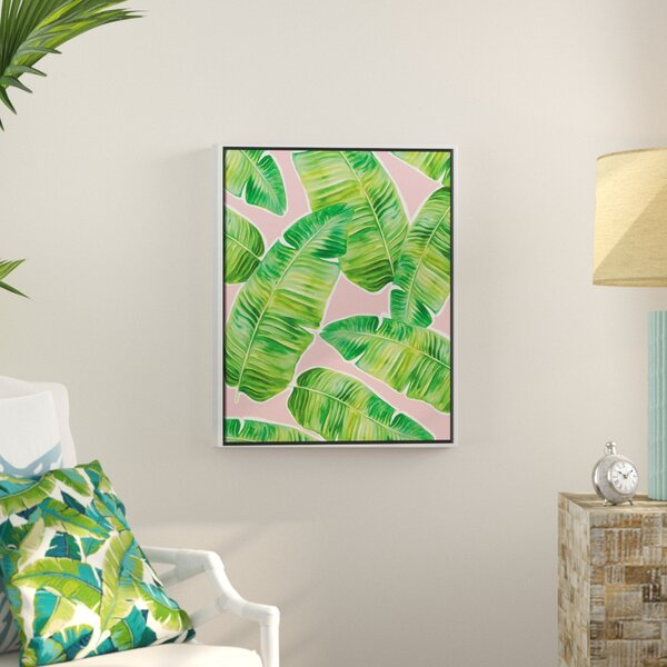 'Green Palm Leaves on Pink Background' Framed Watercolor Painting