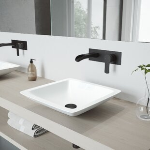 Find Begonia Stone Square Vessel Bathroom Sink with Faucet By VIGO