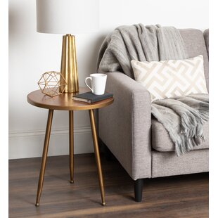 Bode 3-Legged Round Wood and Metal End Table