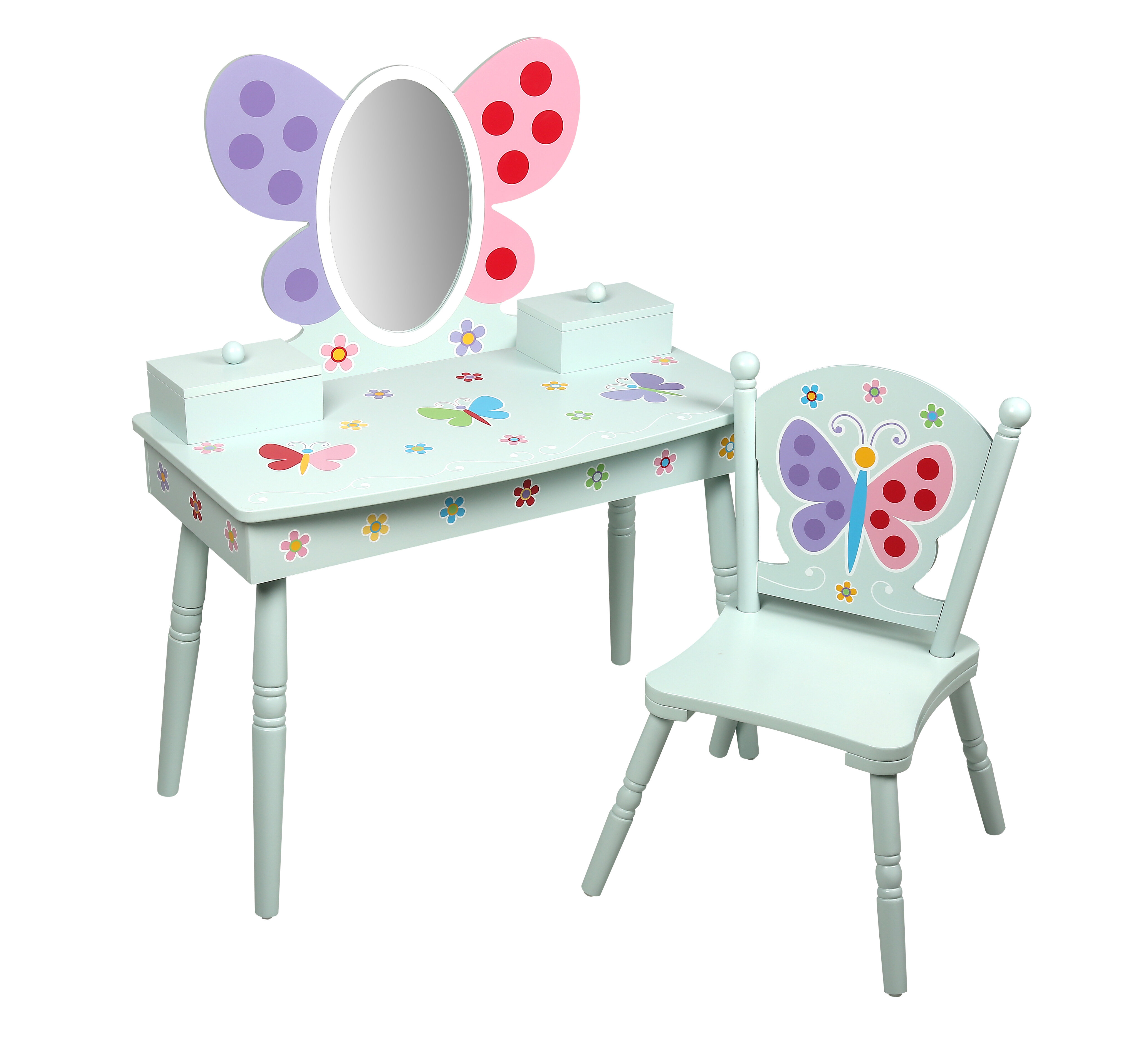 Levels Of Discovery Olive Butterfly Garden Kids Vanity Set With