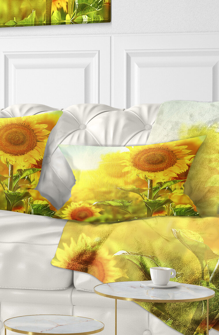 East Urban Home Animal Bright Sunflowers Blooming On Field Lumbar Pillow Wayfair
