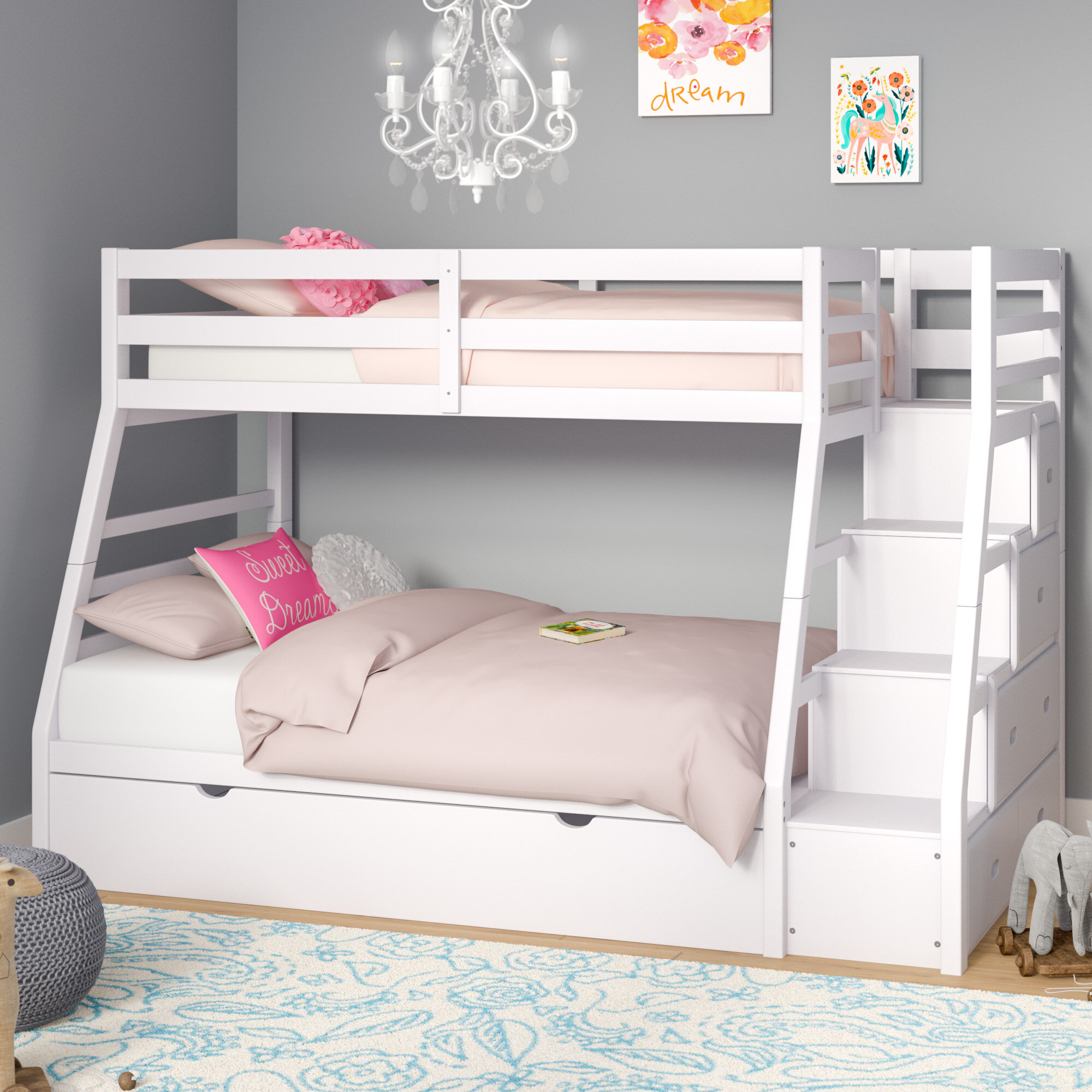 Viv Rae Reece Twin Over Full Bunk Bed With Trundle Reviews Wayfair
