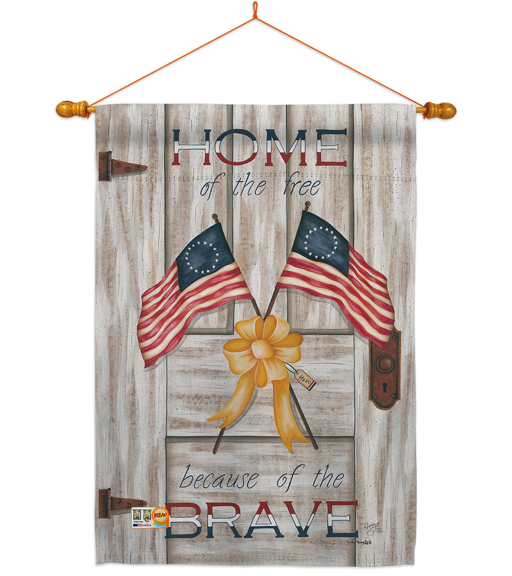 Breeze Decor Home Of The Free 2 Sided Polyester 40 In X 28 In Flag Set Wayfair