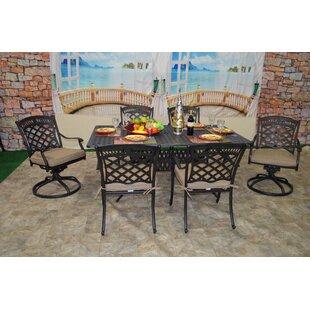 Fleur De Lis Living Wildermuth 7 Piece Sunbrella Dining Set with Cushions