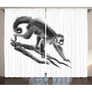 Brock Animal Sketchy Style Monkey On Branch Exotic Creature In Jungle Hand Drawn Ilration Graphic Print Text Semi Sheer Rod Pocket Curtain Panels Set