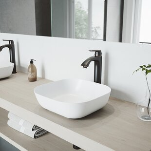 VIGO VIGO Matte Stone Square Vessel Bathroom Sink with Faucet