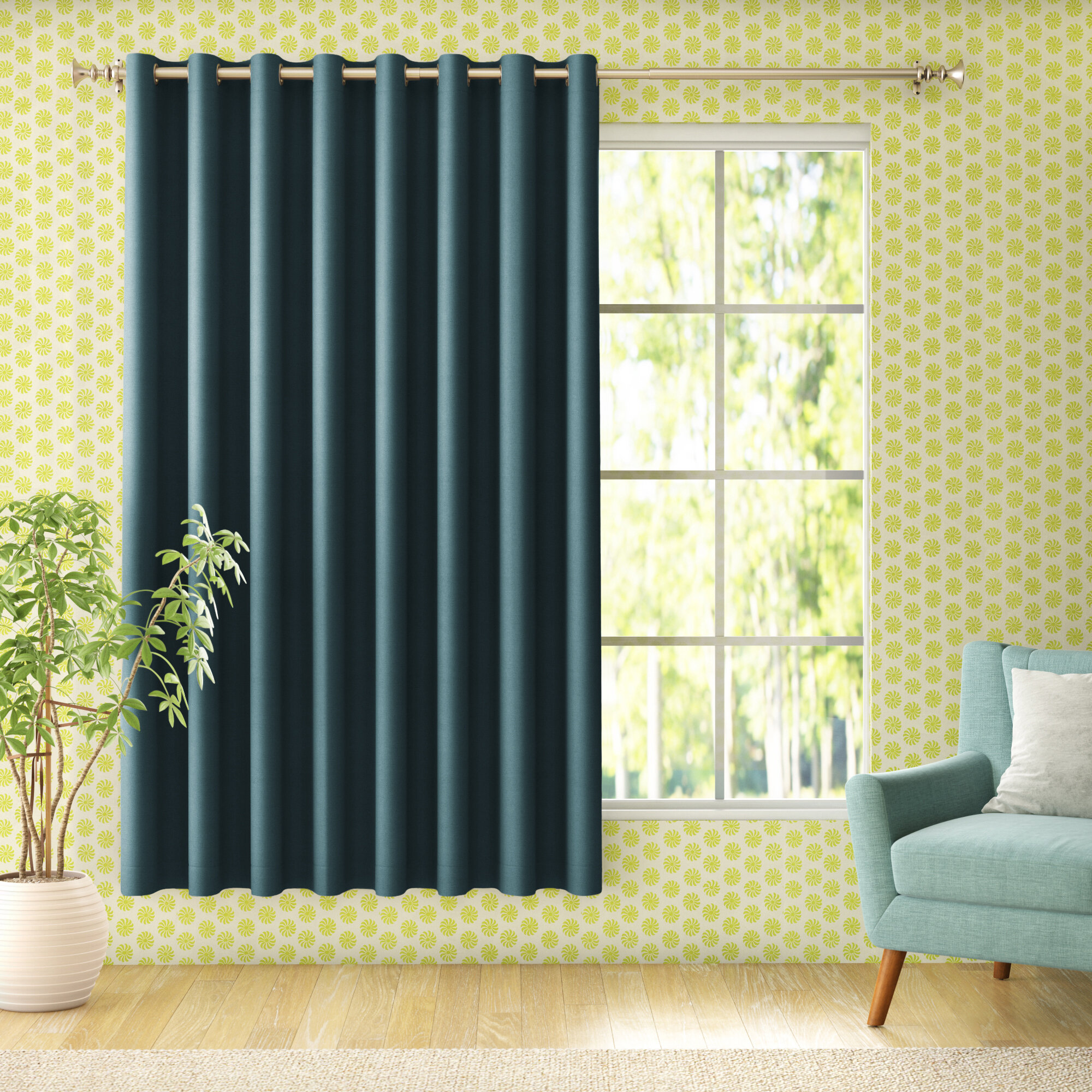 Living Room Teal Curtains Drapes You Ll Love In 2021 Wayfair