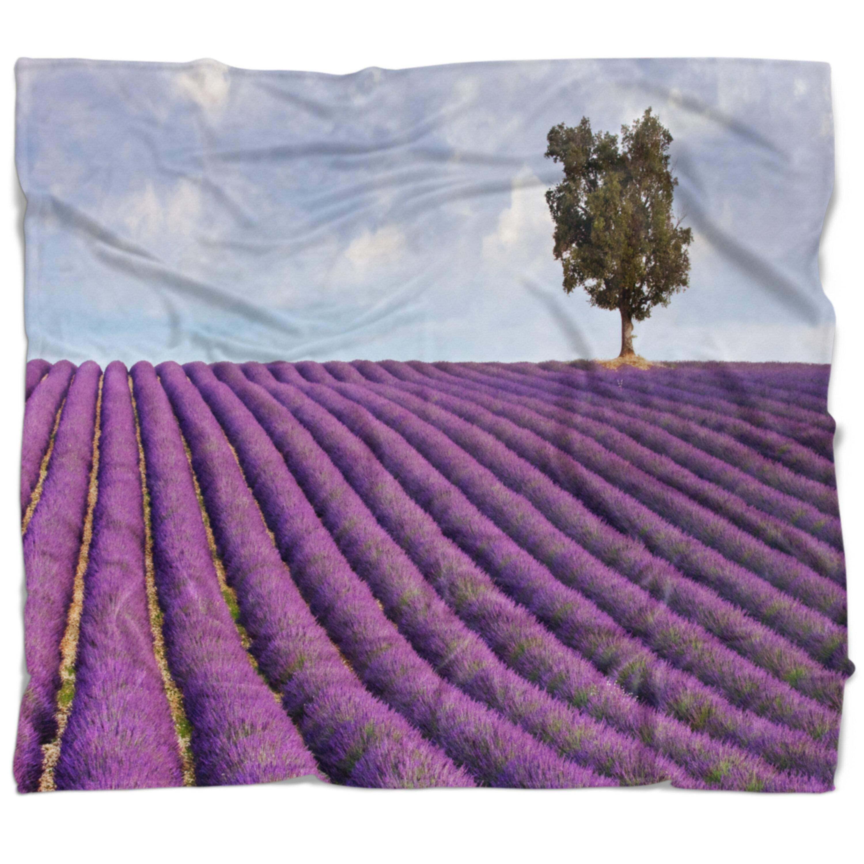 East Urban Home Landscape Lone Tree In Provence Lavender Field Blanket Wayfair