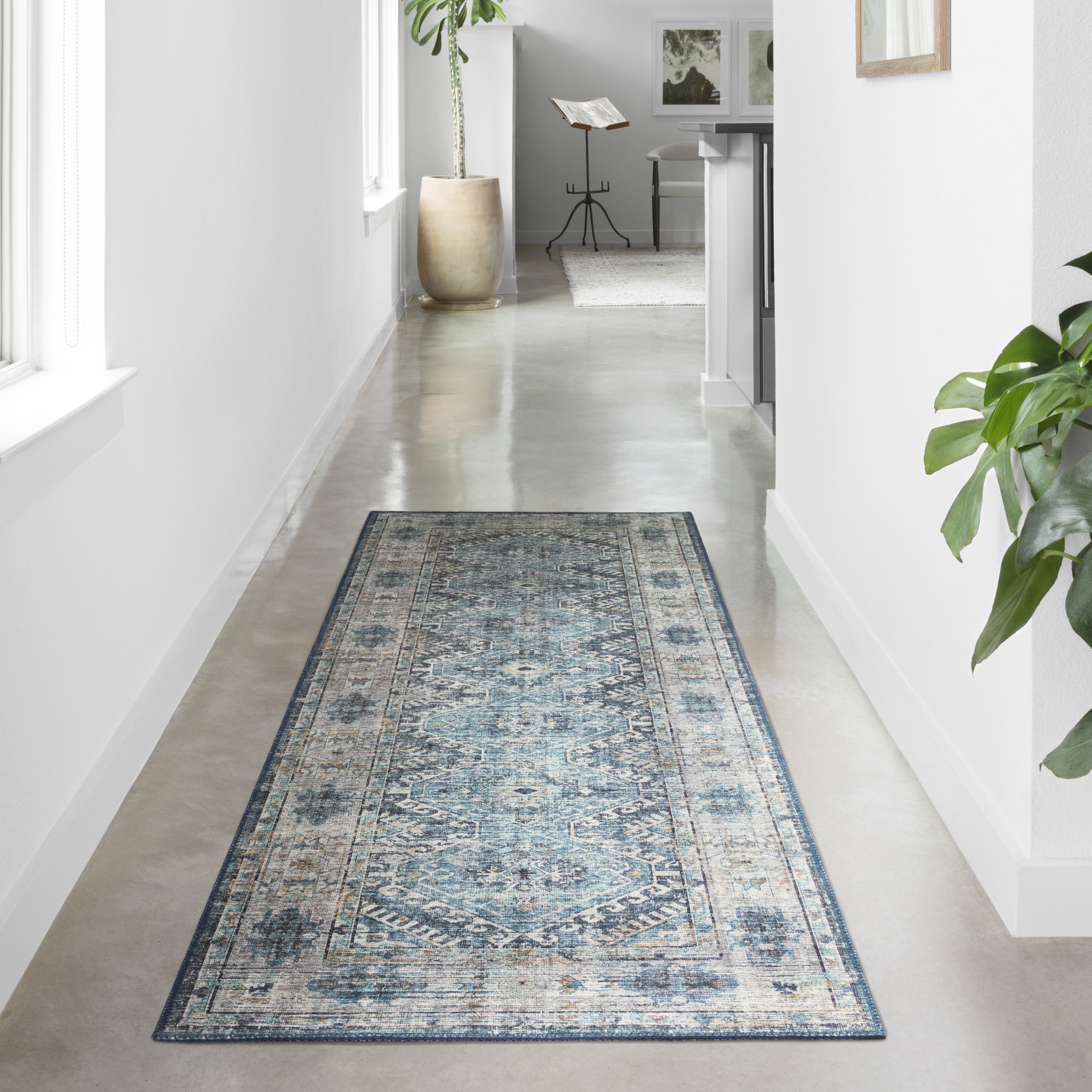 Teal Rugs for Living Rooms Low Pile Rug for Hallway Best Boho Vintage Rugs NEW